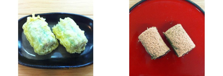 糸切餅の天ぷらとよもぎの糸切餅
