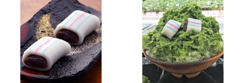糸切餅と糸切餅のかき氷